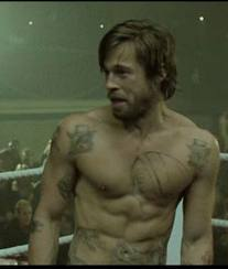 Brad Pitt with in the boxing ring.