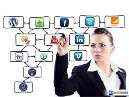 A woman harnessing social media