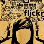 Faceless woman with social icons above her head