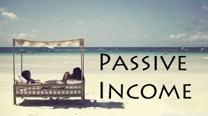 Beach scene of people earning passive income