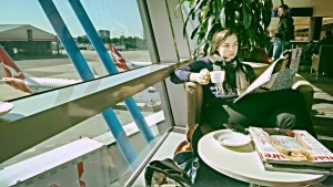 Girl waiting for a plane