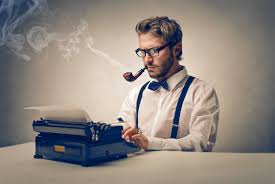 Hipster at a typewriter