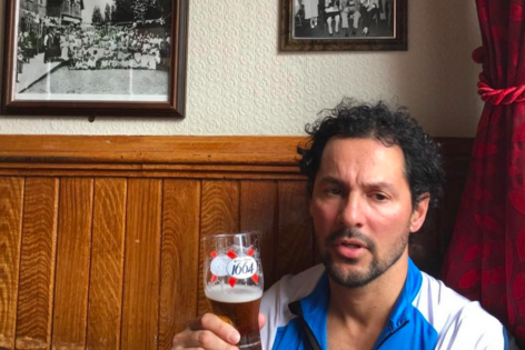 Gil with a beer in London